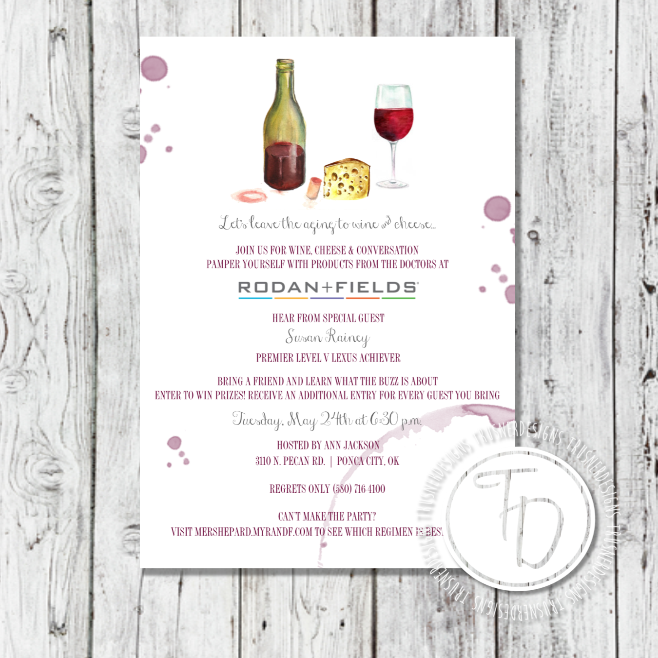 Wine and cheese R+F party invitation by Trusner Designs