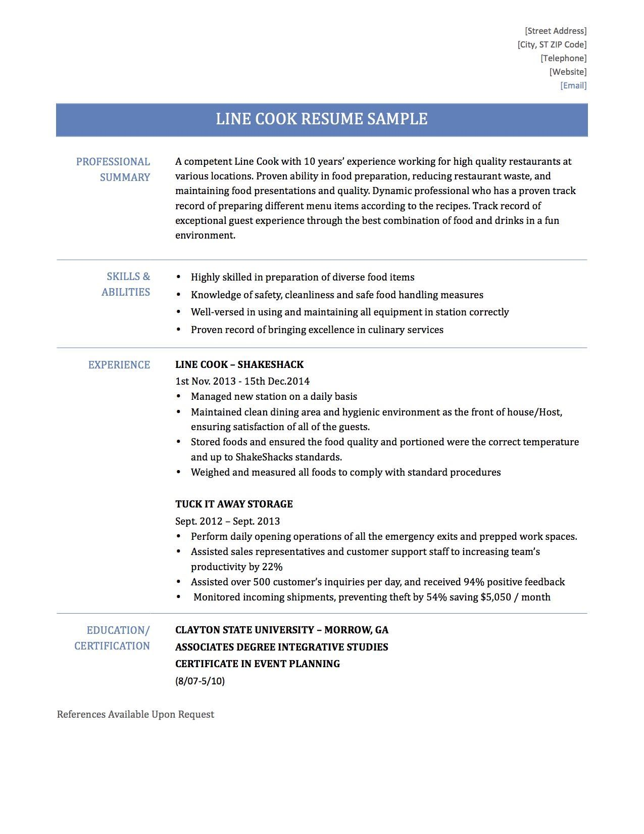 Sample Resume For Cook Job Grill Samples Chef Description Cooking