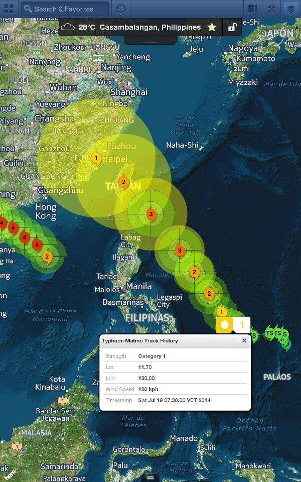 Tifón #Matmo nueva amenaza para Filipinas y Taiwán. Vientos máximos de 120 kmh. Se espera intensificación. Sus bandas exteriores ya están afectando al borde costero del Este del Archipiélago Filipino. Se espera que alcance la Cat 3 la siguiente semana de acuerdo a los modelos de trayectoria.