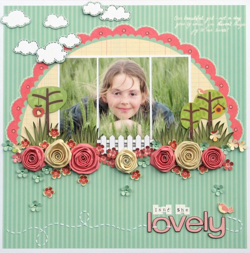 scrapbook, layout, rolled flower, clouds by melinda spinks (love this girl)