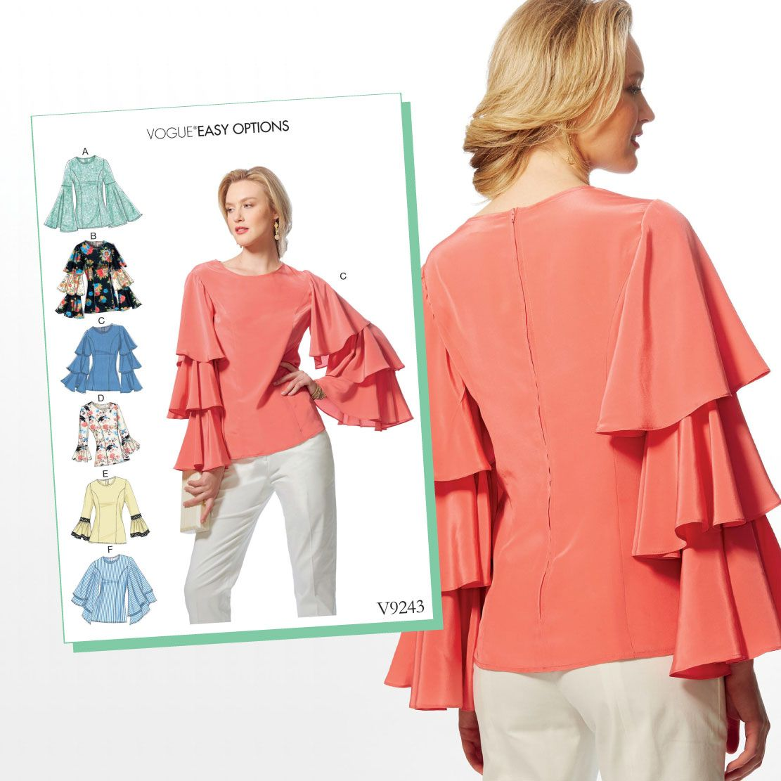 V9243 Misses\' Princess Seam Tops With Flared Sleeve Variations