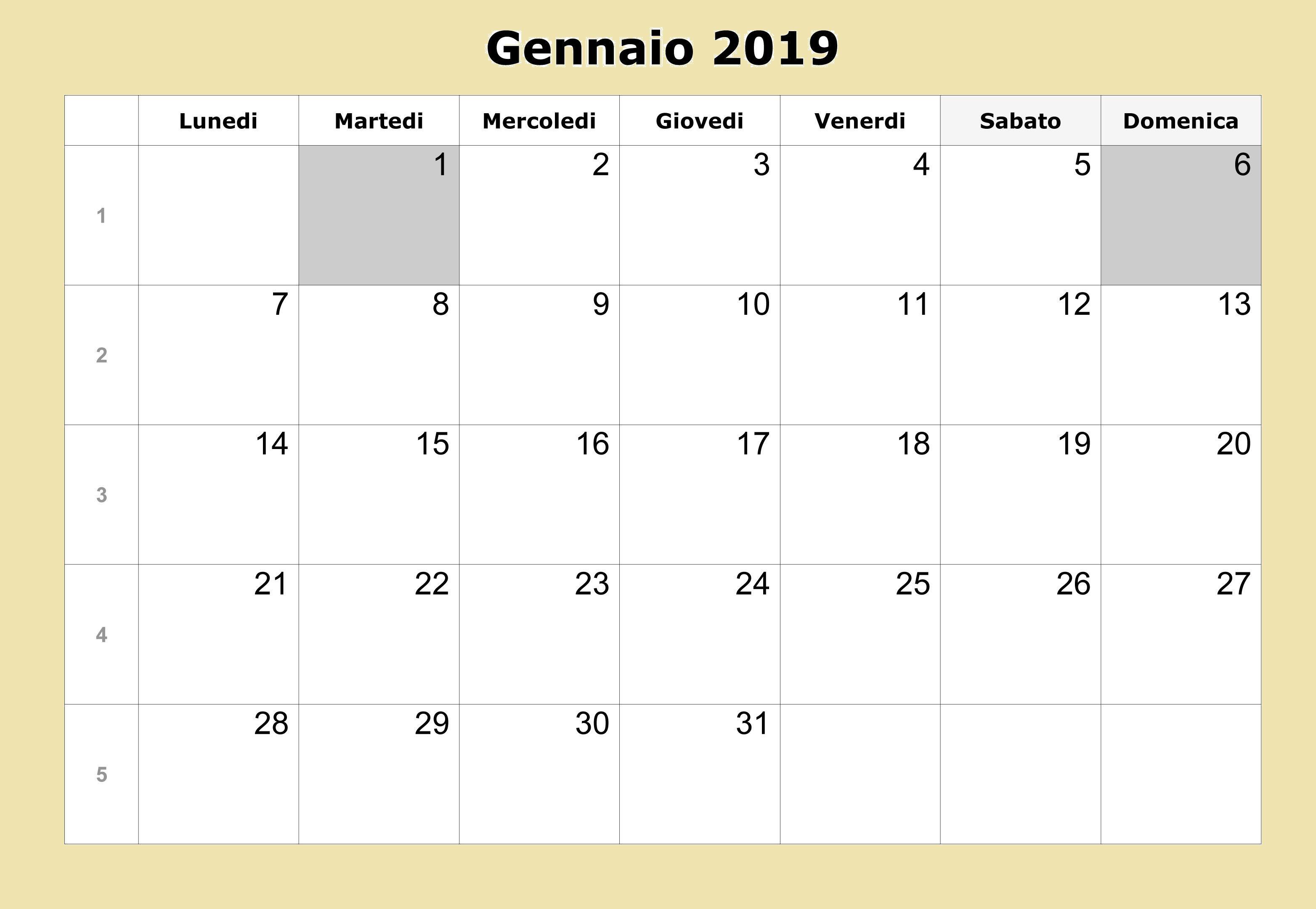 Calendario Gennaio 2020 Da Stampare.Calendario Gennaio 2019 Da Stampare Calendario Gennaio