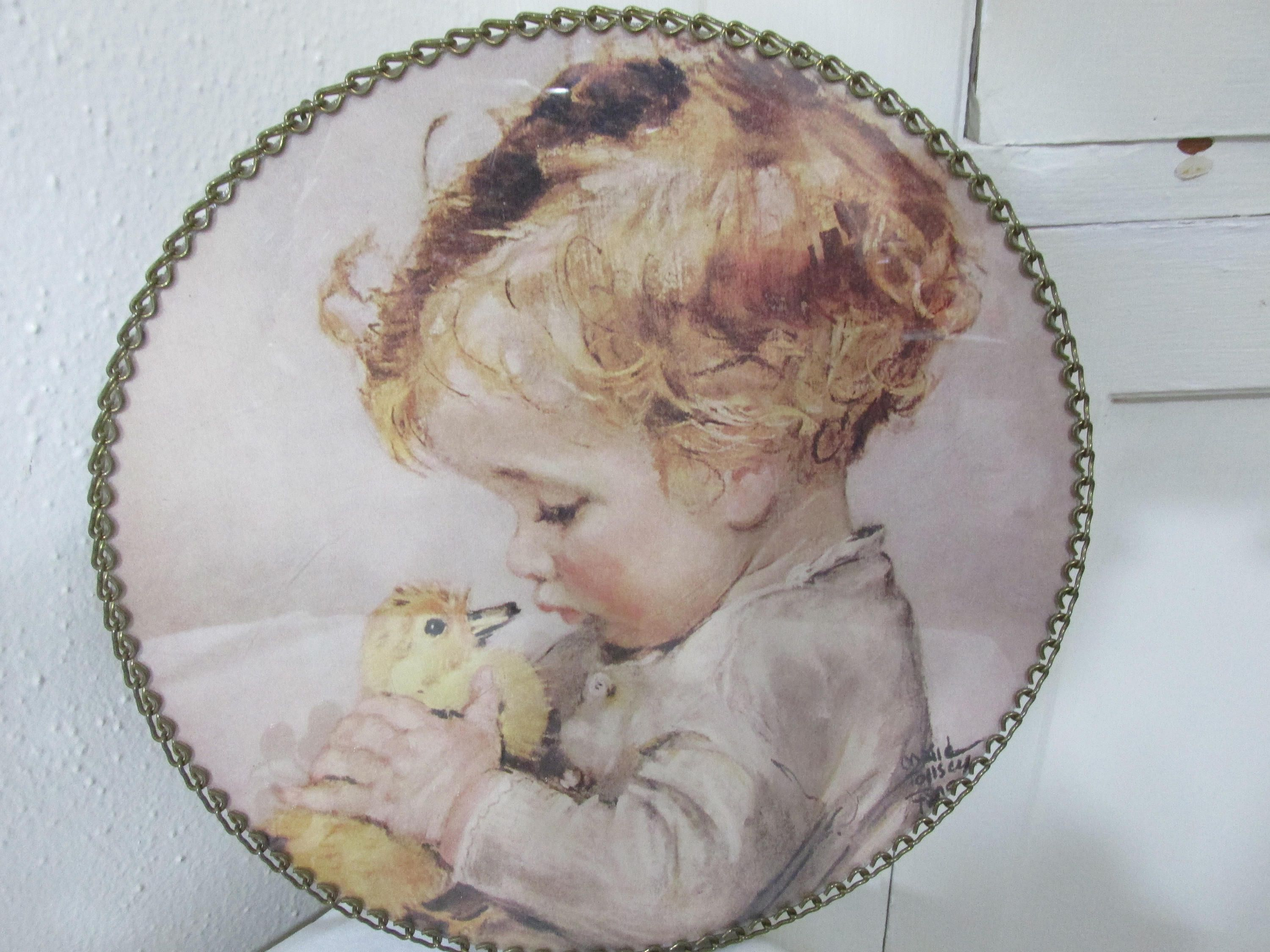 Flue Cover Round Decorative Signed Maud Tousey Fangel