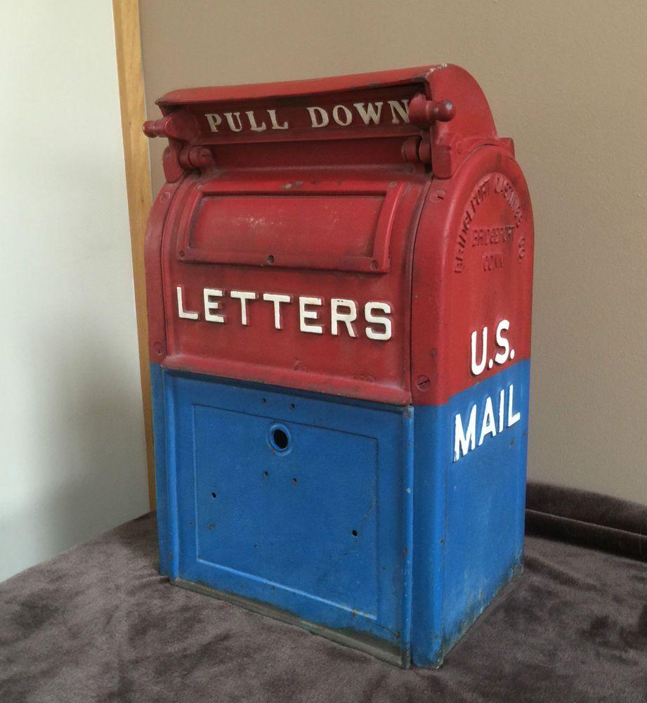 Antique Cast Iron Mail Box US POST OFFICE USPS 1948 Bridgeport,USA ...
