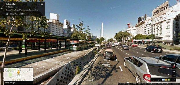 Buenos Aires Google Street View 03 La Avenida 9 de Julio, con el Obelisco de frente