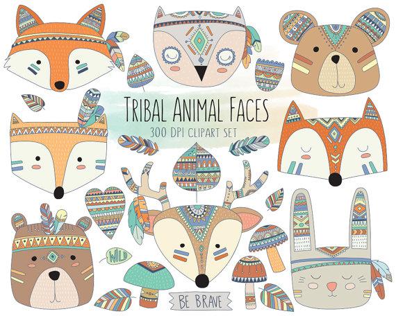 Tribal animal faces clipart cute clip art woodland for Faites vos propres plans gratuitement