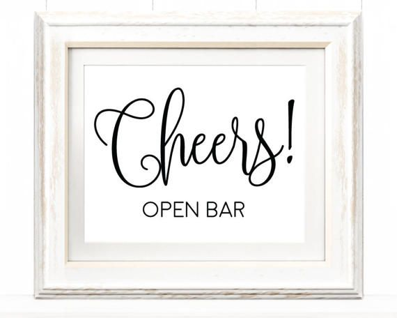 8x10 Cheers Open Bar Sign Printable Template By CrossvineDesigns