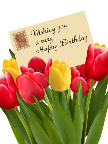 send free birthday tulip card to loved ones on birthday greeting