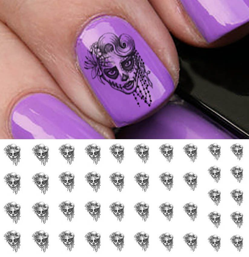 Sugar Skull Lady Nail Art Waterslide Decals - Salon Quality   Lady ...