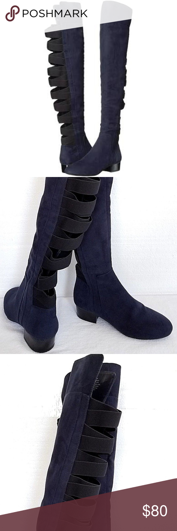 a4079904f36 Nine West Ooohaah Fabric Back Straps Boot 5.5M NEW Nine West Women s Over  The Knee