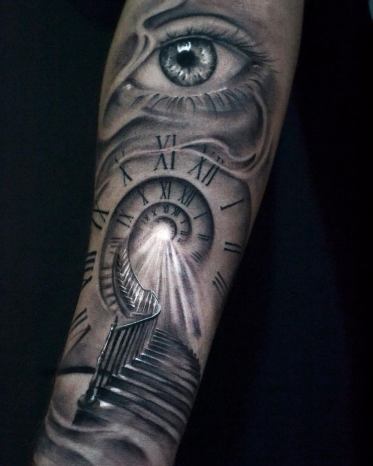 Astronomical Clock Tattoo: Escaleras Al Cielo Escaleras