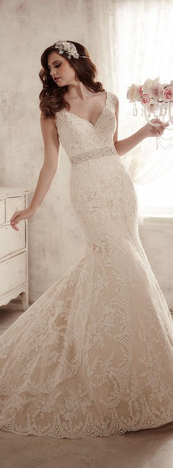 Vintage inspired wedding dress, lace wedding dress, wedding dress ...