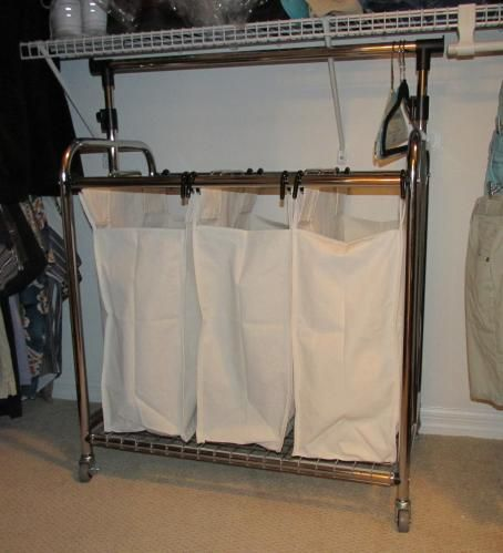 Seville Classics 3 Bag Heavy Duty Laundry Hamper Sorter Cart With