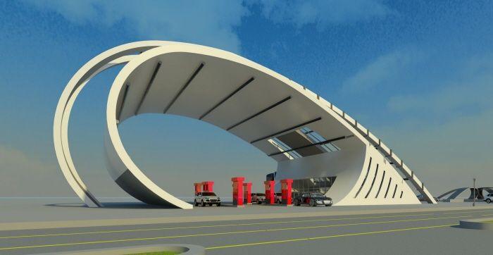 Modern Gas Station By Movses Dzhansyan At Coroflot Com Gas Station Petrol Station Old Gas Stations