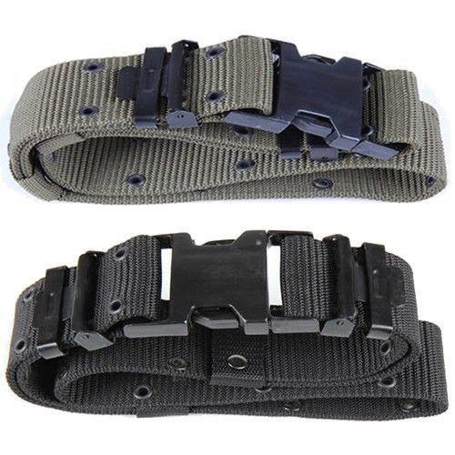 Military Army Style Mens Utility Web Belt Black OD Green Equipment Belt for Men