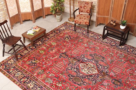 Persian Rug, Hand knotted rug, Living room rug, Geometric Design Rug ...