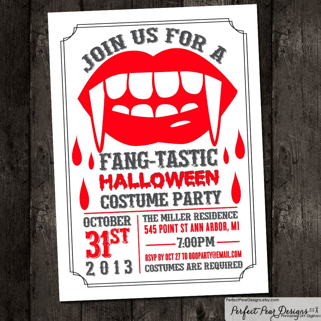 Halloween Party Invitation, Fang-Tastic Halloween Costume Party ...