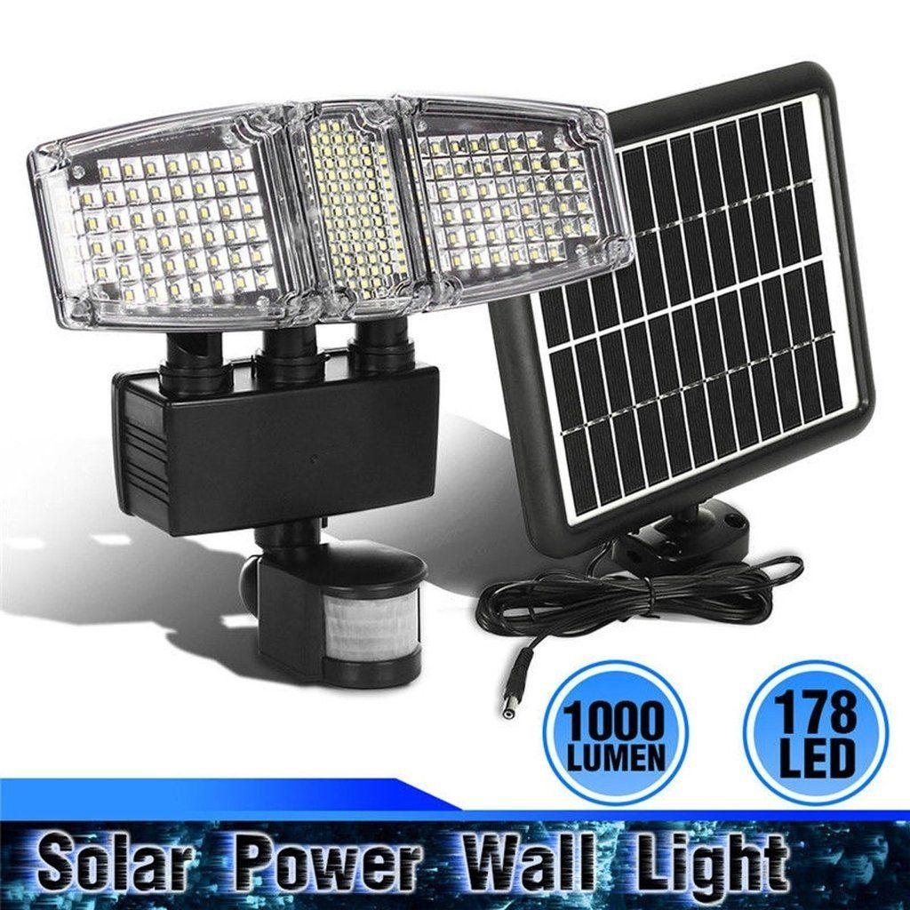178 Led Triple Head Solar Powered Motion Activated 1000 Lms Outdoor Flood Light Outdoor Flood Lights Solar Lamp Solar Power Diy