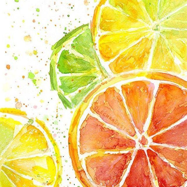 Black Fruits Splash Modern Kitchen Art Canvas Print Poster: Citrus Fruit Watercolor