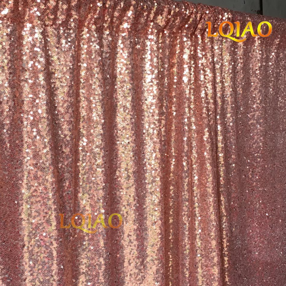 Lqiao 10ft Width Sequin Photography Backdrops Glitter Rose Gold