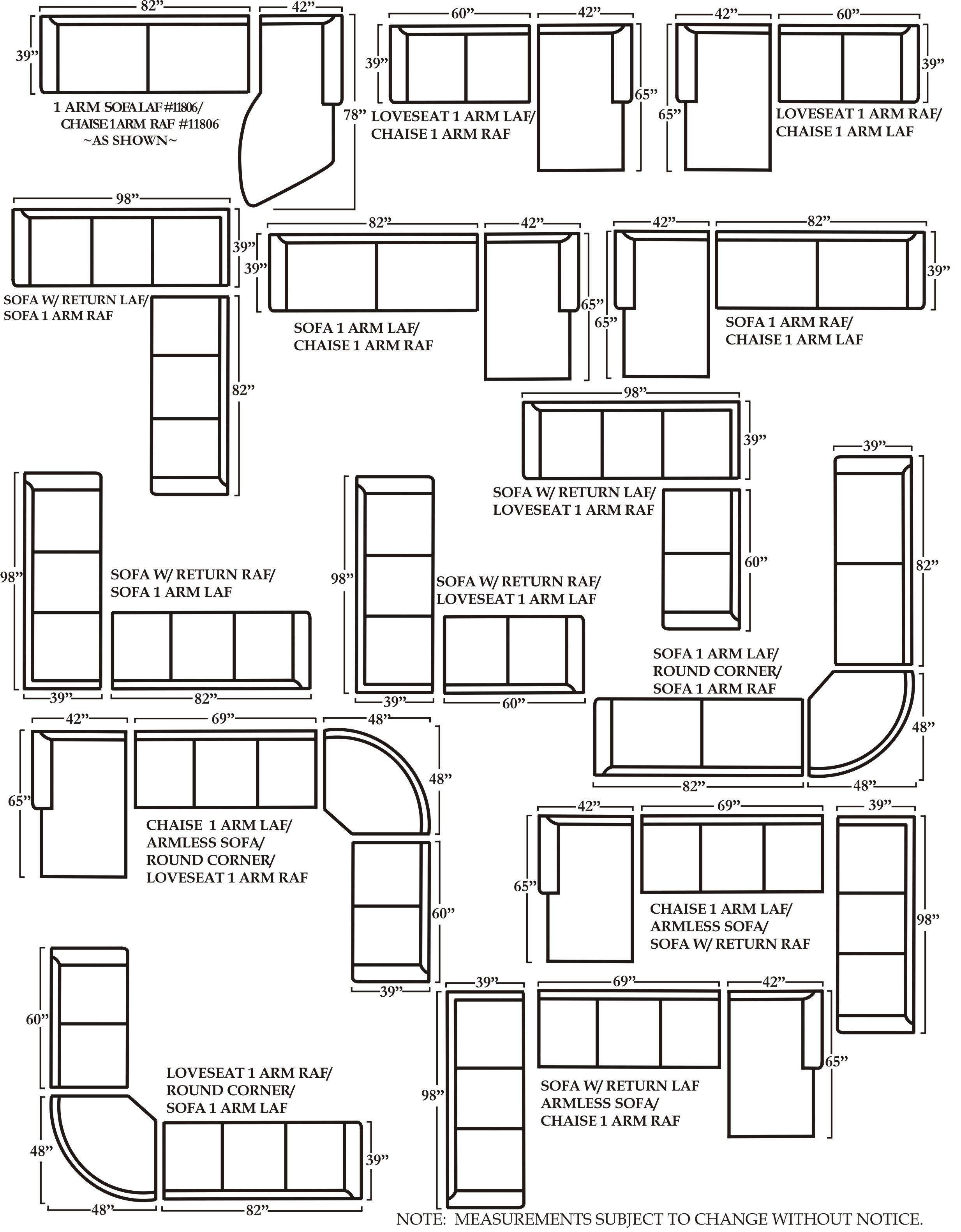Measurements Sectional Sofas In