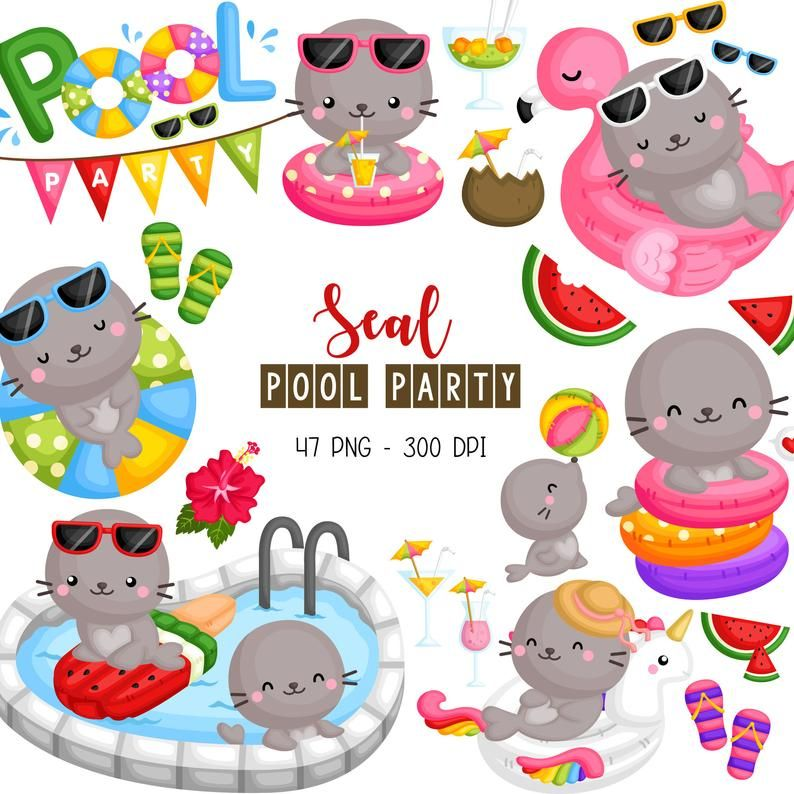 Seal Pool Party Clipart Cute Animal Clip Art Fun In The Etsy Party Clipart Birthday Party Clipart Clip Art