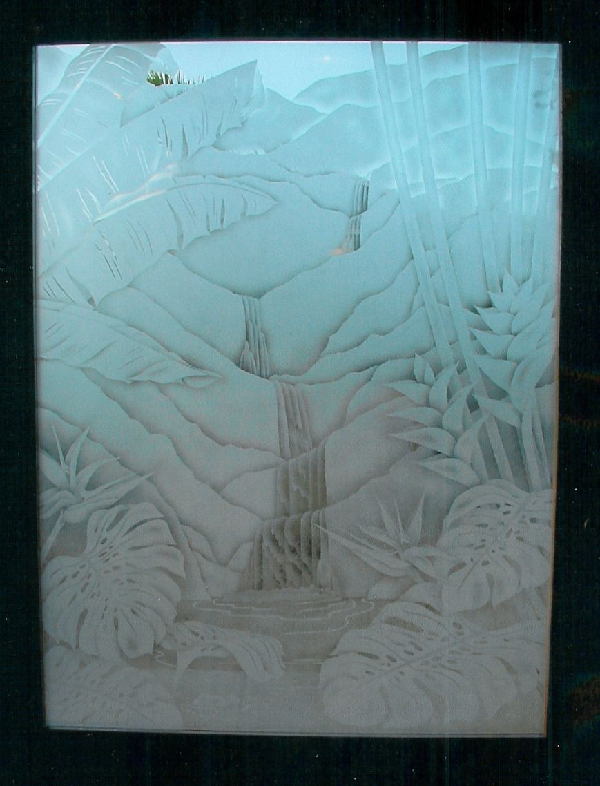 very large 5\' x 9\' entry door etched w/ tropicals and waterfalls ...