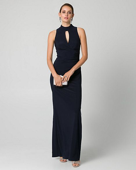 Knit Mock Neck Ruched Gown Gowns Prom And Fashion