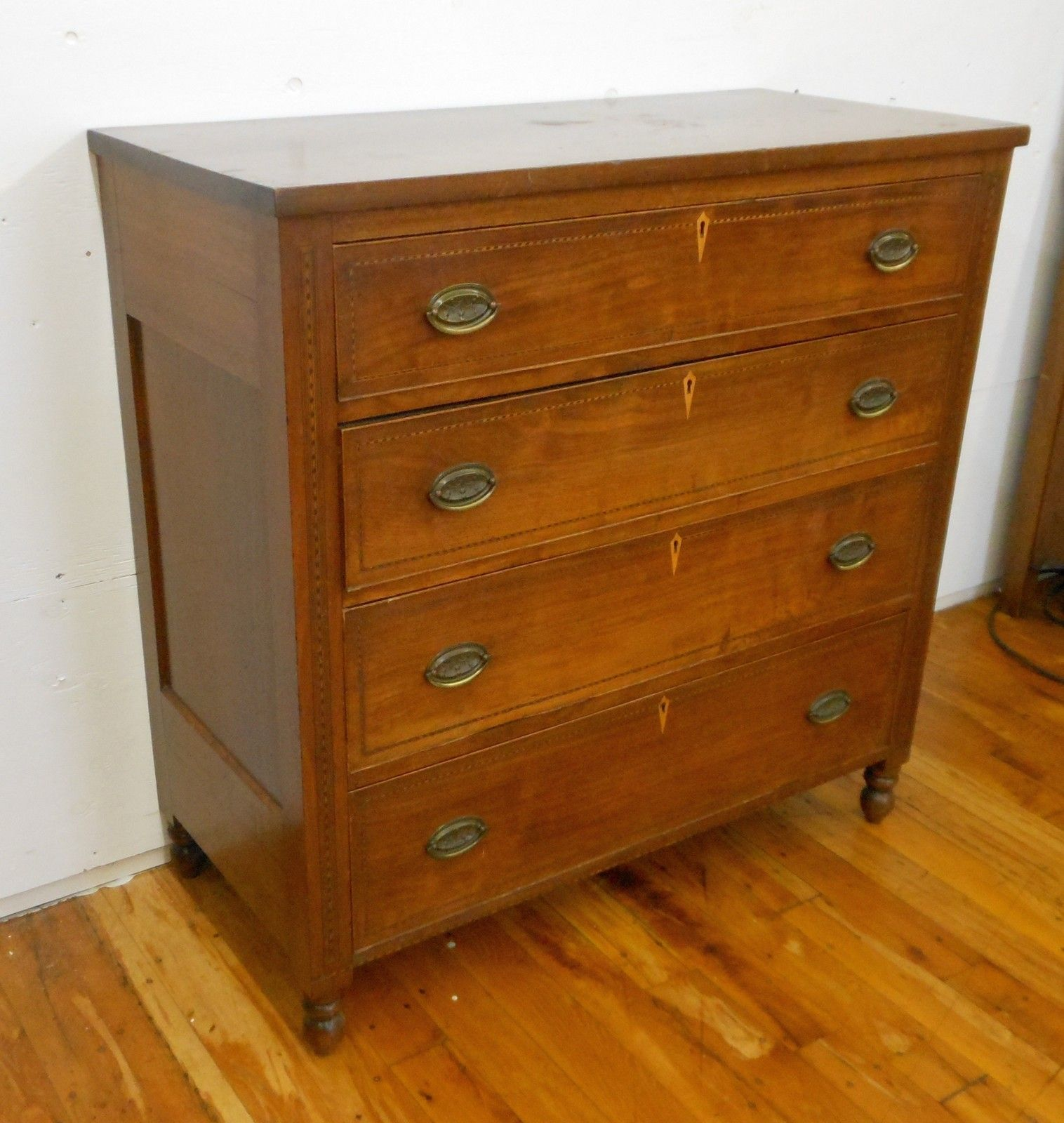 Antique Federal Chest Drawers C 1800s Hepplewhite Mahogany W Inlay Dresser Drawers American Furniture Dresser