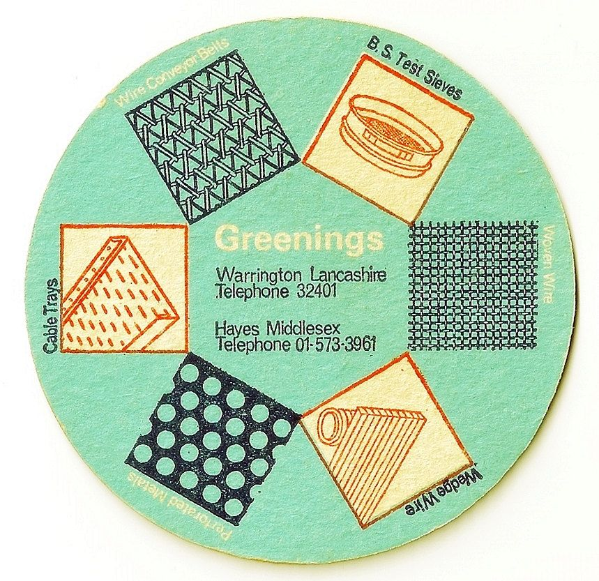 N Greening And Sons Ltd Vintage Advertising Bar Pub Drinks Mat Circa 1960 Table Coasters Beer Mats Contemporary Pottery