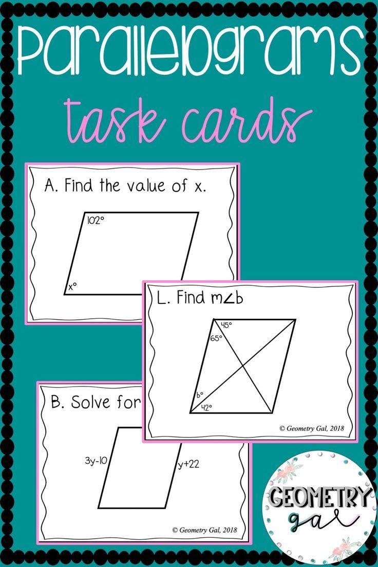 Parallelograms Task Cards Geometry task cards, Geometry