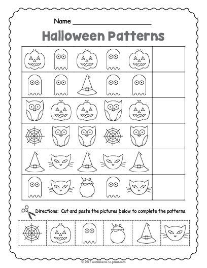 Free Printable Halloween Pattern Worksheet  Halloween Worksheets