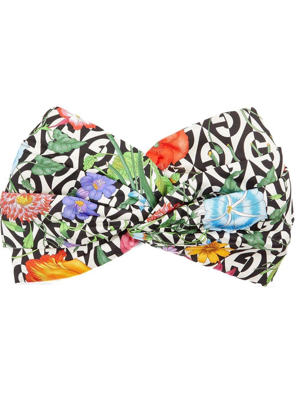 Photo of Gucci Silk Headband With Flora And G Rhombus Print