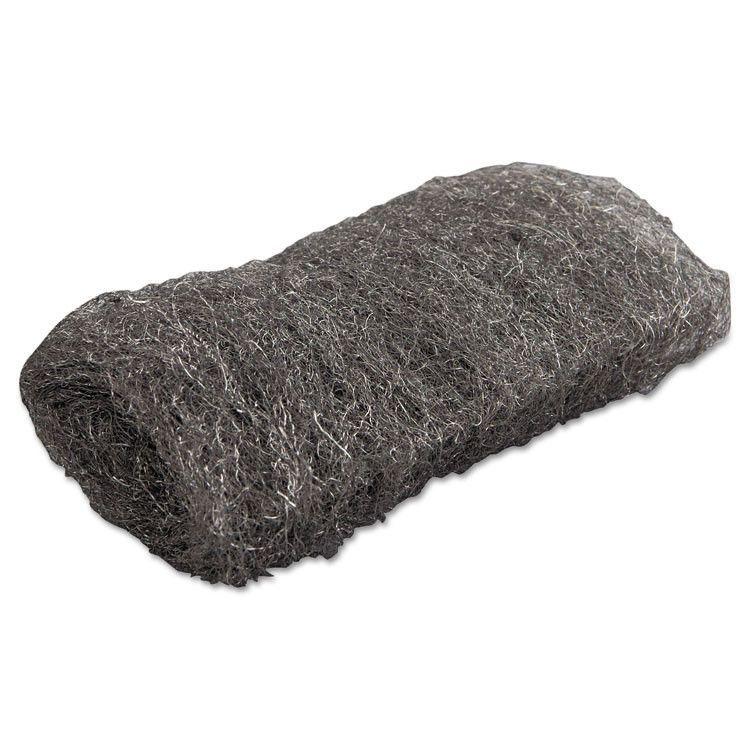 Industrial-Quality Steel Wool Hand Pad, #1 Medium, 16/pack, 192/carton