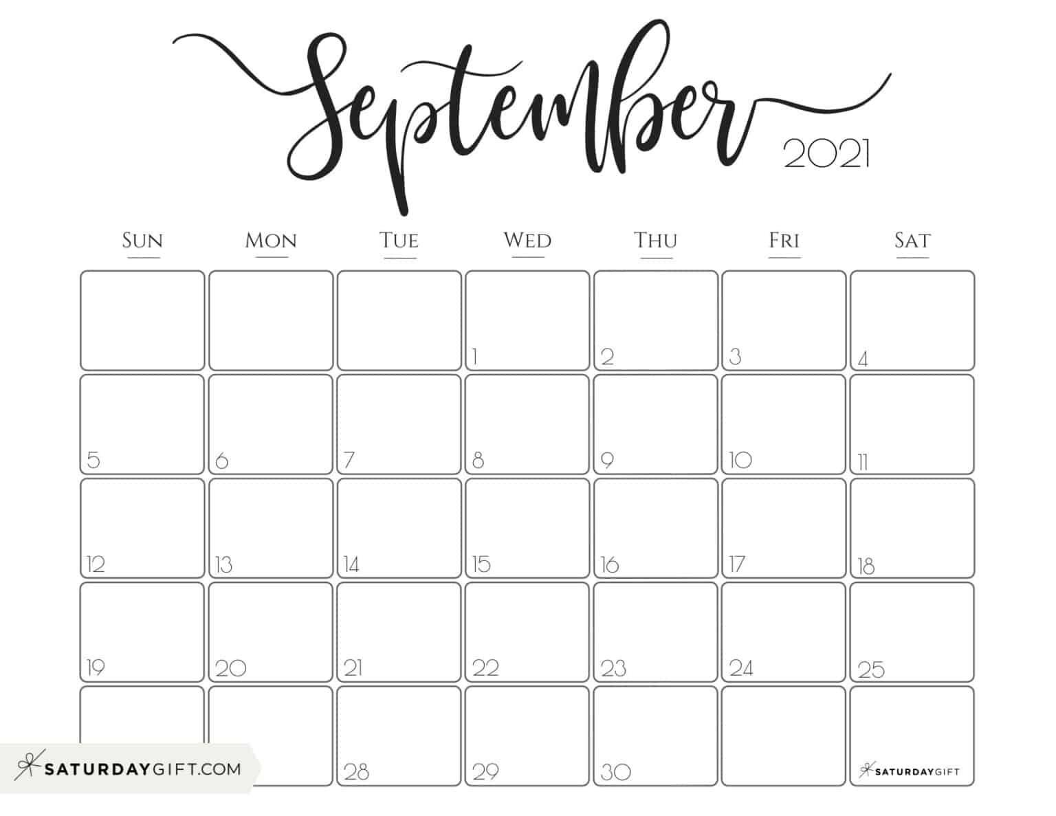 Elegant September 2021 Calendar Free Printable Horizontal Sunday Start