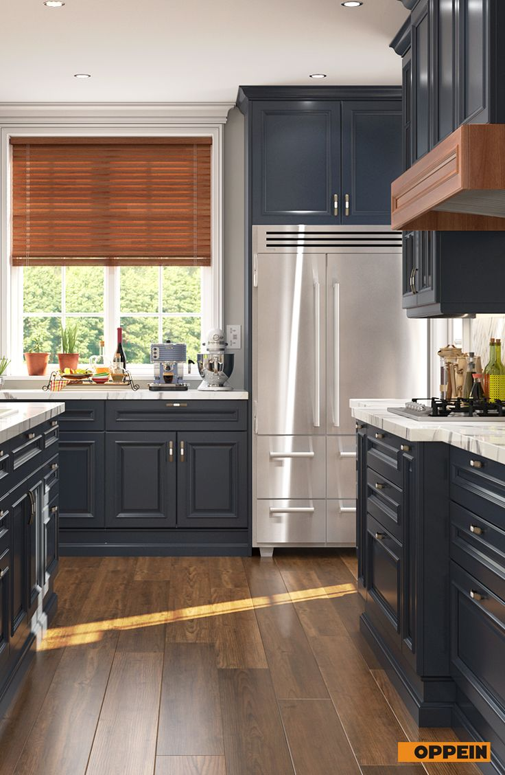 Shaker Style U-Shaped Navy Blue Kitchen (With images ...