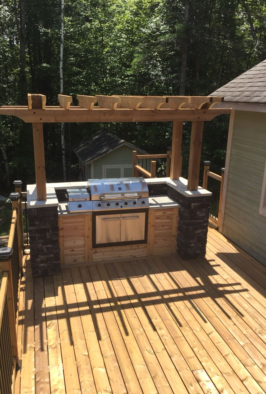 Outdoor bbq island built on my parents deck in muskoka
