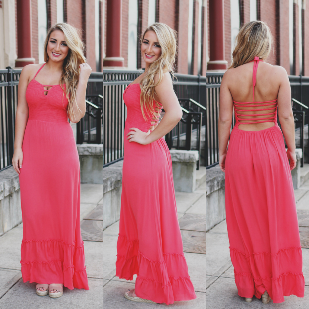 Coral Strappy Open Back Maxi Dress | vestidos largos | Pinterest ...
