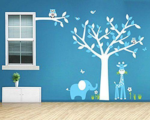 Yanqiao Schön Niedlich Giraffe Elefanten Und Eulen Auf Baum Großer  Hintergrund Aufkleber Für Wohnzimmer Wanddekoration Entfernbare Vinyl  Abziehbildu2026