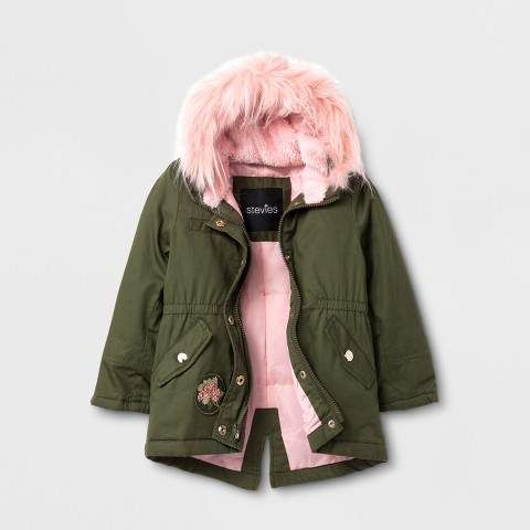 Toddler Girls Jacket Green Olive Front Patch Sweet