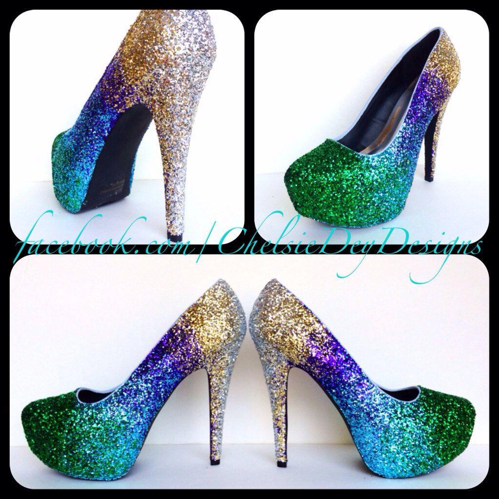 blue and green sequin heels