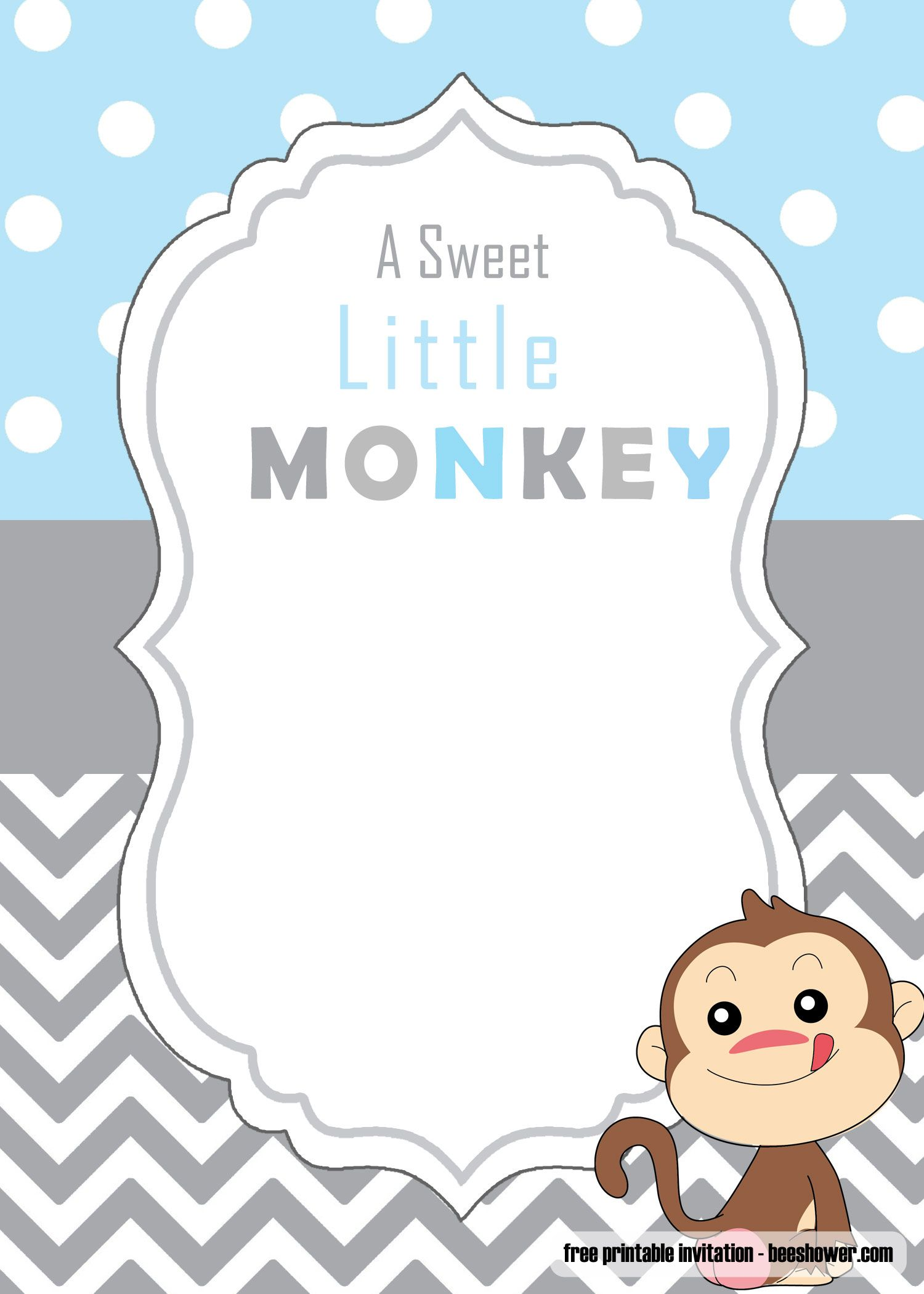 Get Free Cute Monkey Baby Shower Invitations Templates In