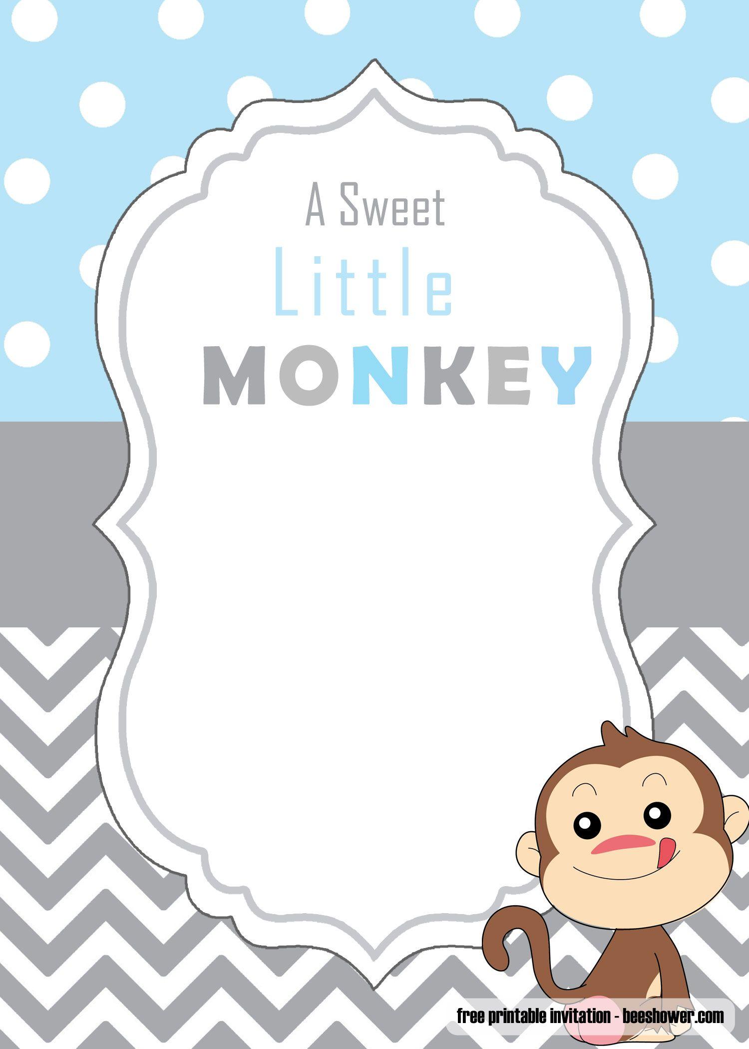 Get Free Cute Monkey Baby Shower Invitations Templates Monkey Baby Shower Invitations Baby Shower Invitations Free Printable Baby Shower Invitations