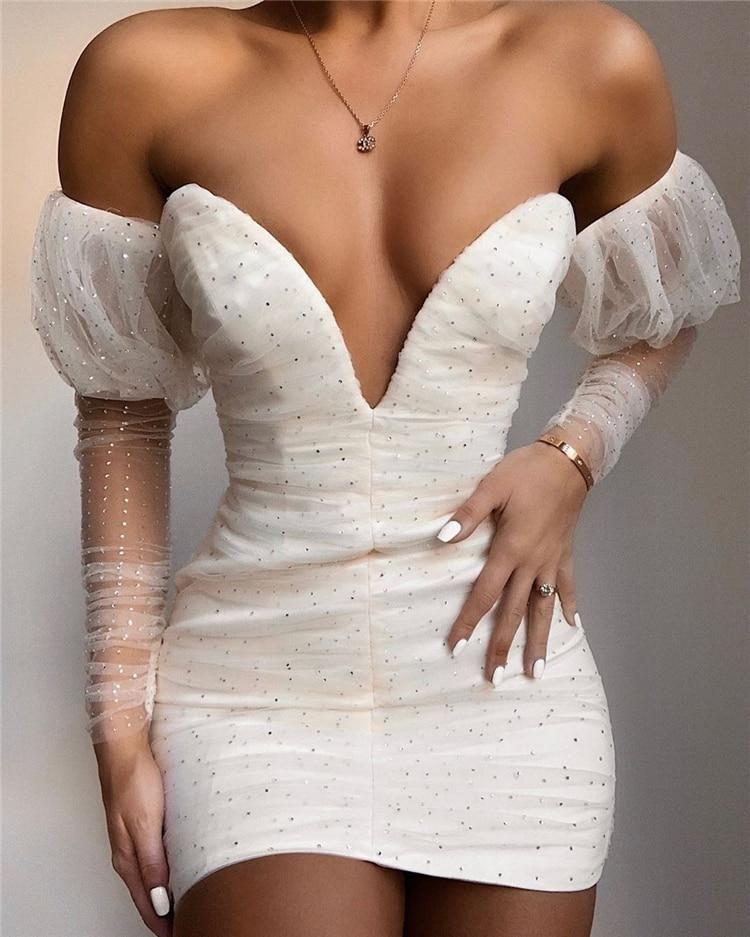 polka dot sequined mesh dress