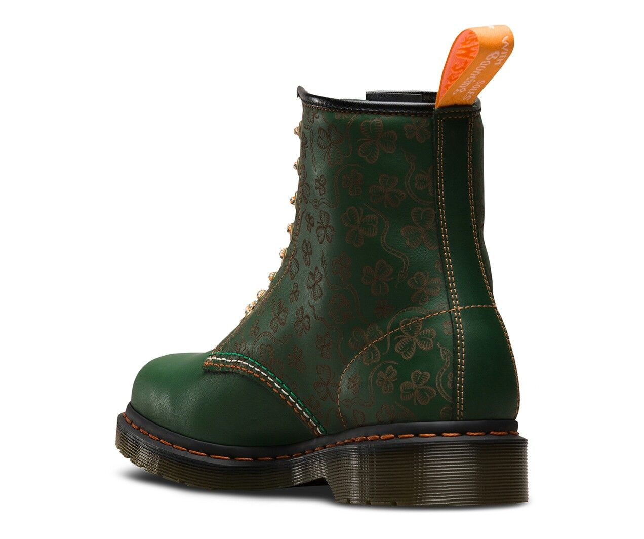 74705060a722db From Dr Martens official website. Limited edition. Laser-etched shamrocks  and snakes. Tri-color laces in orange, green, and white. Orange heel loop.