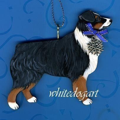 Australian Shepherd Christmas Ornament.Tri Color Australian Shepherd Handpainted Christmas Ornament