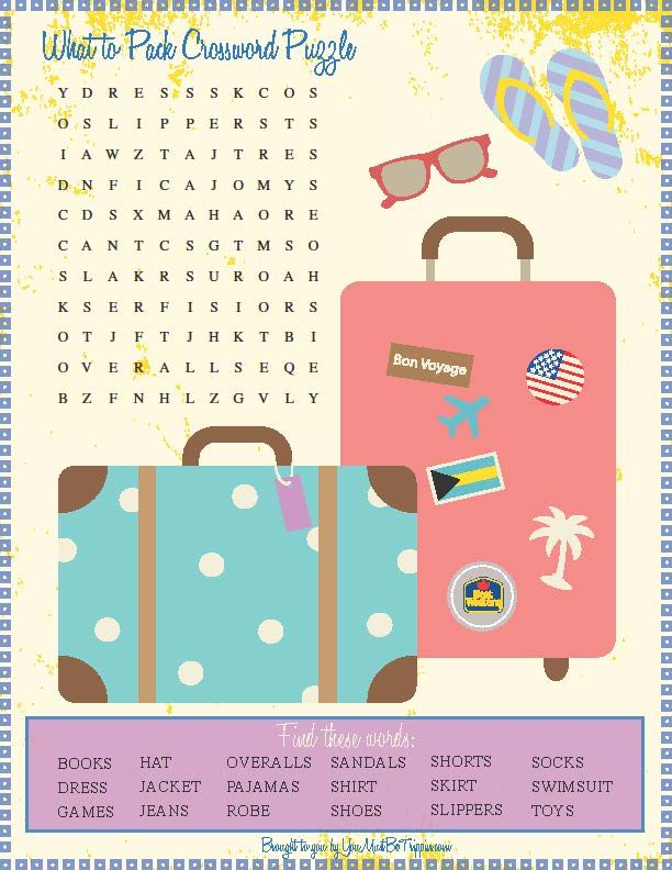 Packing Crossword Puzzle Click To