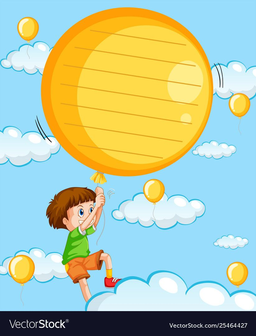 A Boy With Balloon Note Royalty Free Vector Image Stock Photos Funny Boy Illustration Kids Background