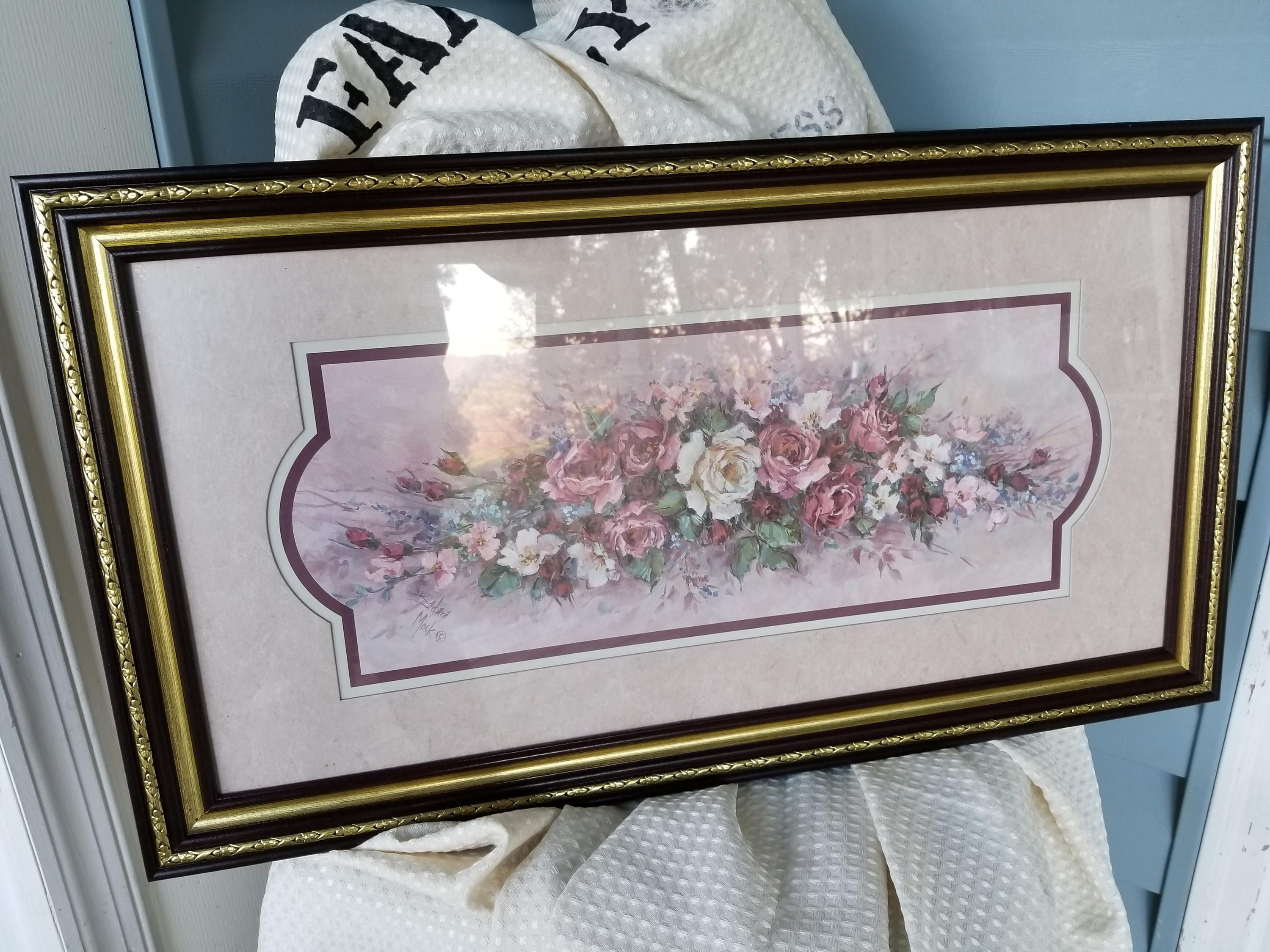 Retired signed Barbara Mock flower print Home Interior and Gifts ...