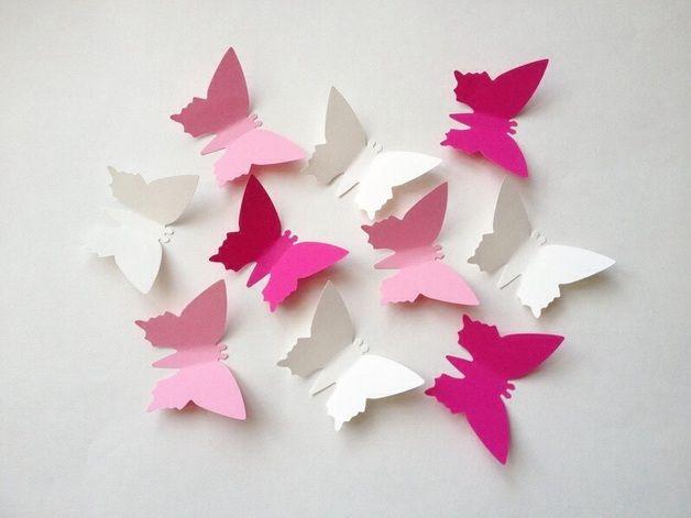 papierschmetterlinge deko paper butterflies pink white via kinderzimmer. Black Bedroom Furniture Sets. Home Design Ideas
